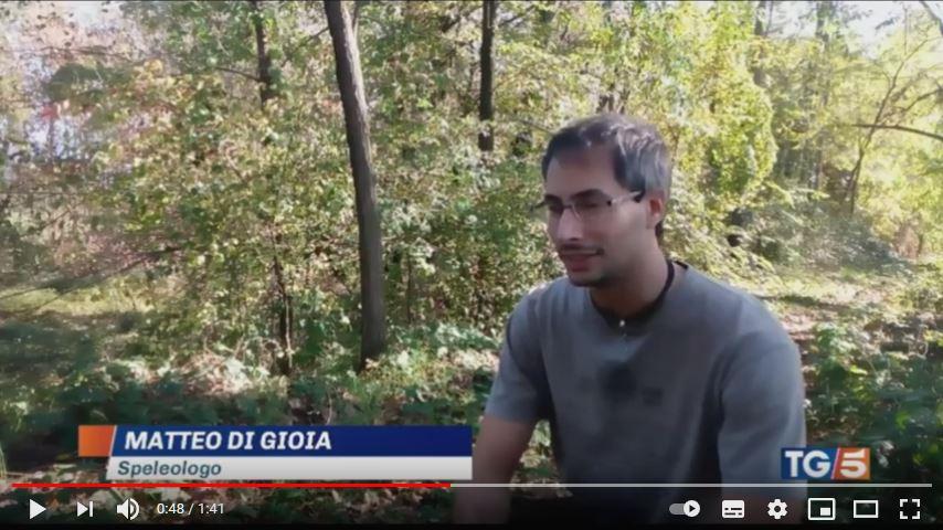 Matteo Di Gioia speleologo, servizio del TG5 sulla scoperta