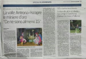 La Stampa article about the discovery of a lost mine in Antrona, Piedmont