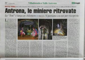 eco risveglio article on the mines discovered near villadossola, near lake maggiore
