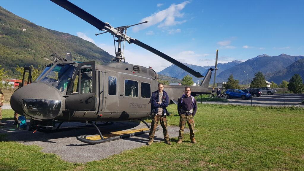L'elicottero UH 205 dell'esercito italiano dove insieme agli artificieri abbiamo disinnescato l'esplosivo