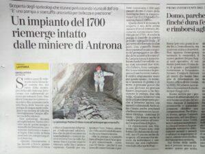 Articolo de La Stampa sulla scoperta della pompa